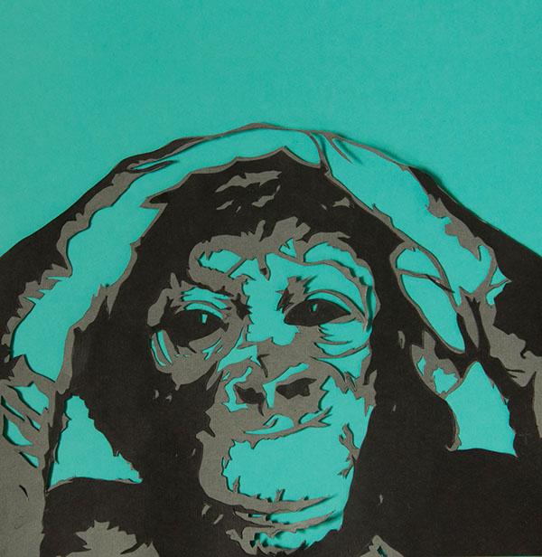 Monkey Stencil Monkey Paper Stencil on