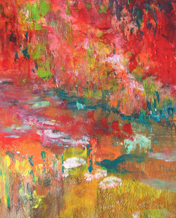 Emotional abstract bright expressionistic red colorful