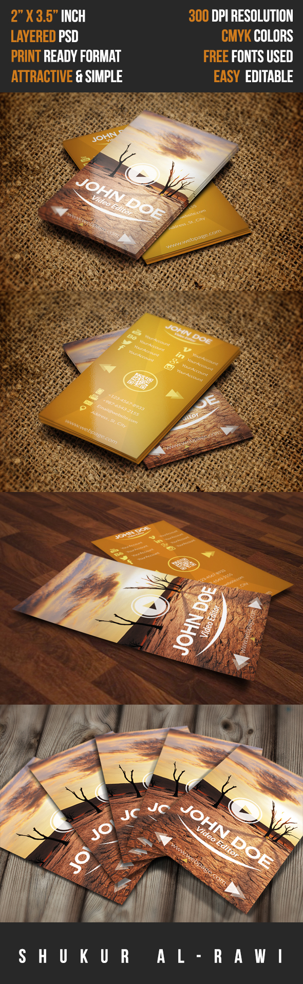Business card template video editor on behance reheart Image collections