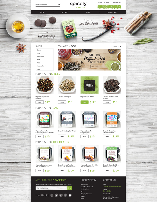 Website spicely seasoning spice organic tea chocolate spices