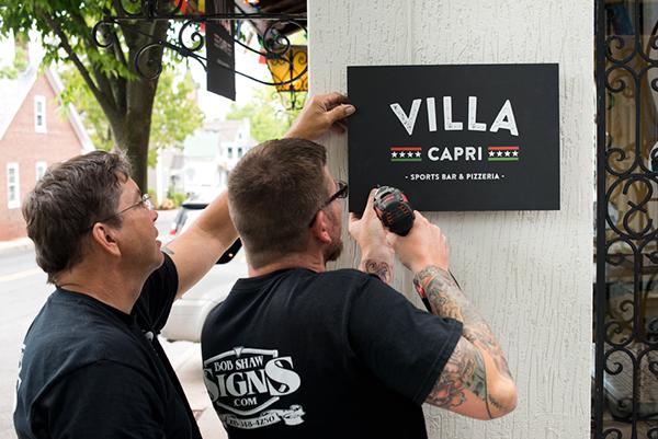 signs Rebrand restaurant spots bar Pizza doylestown Bucks County Logo Design brand identity