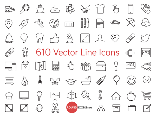 610 Vector Line Icons Set on Behance