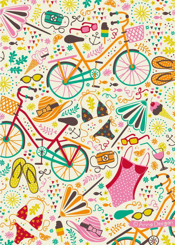 pattern Retro summer Sun Seaside cycle Adobe Portfolio