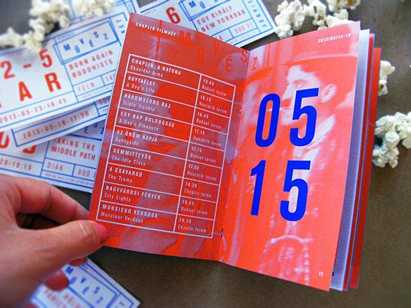 Chaplin brochure film festival festival  program ticket Colourous orange  blue movie Cinema művész Mozi art cinema typo