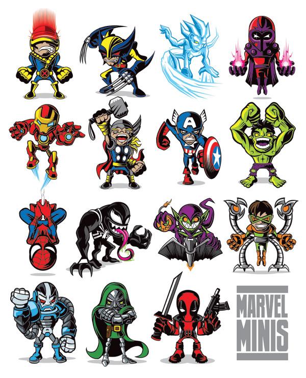 Marvel Character Design Behance : Marvel comics minis on character design served