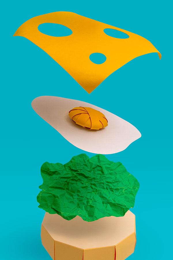 Food  Health papercraft burger brand paper papel craft handmade salad