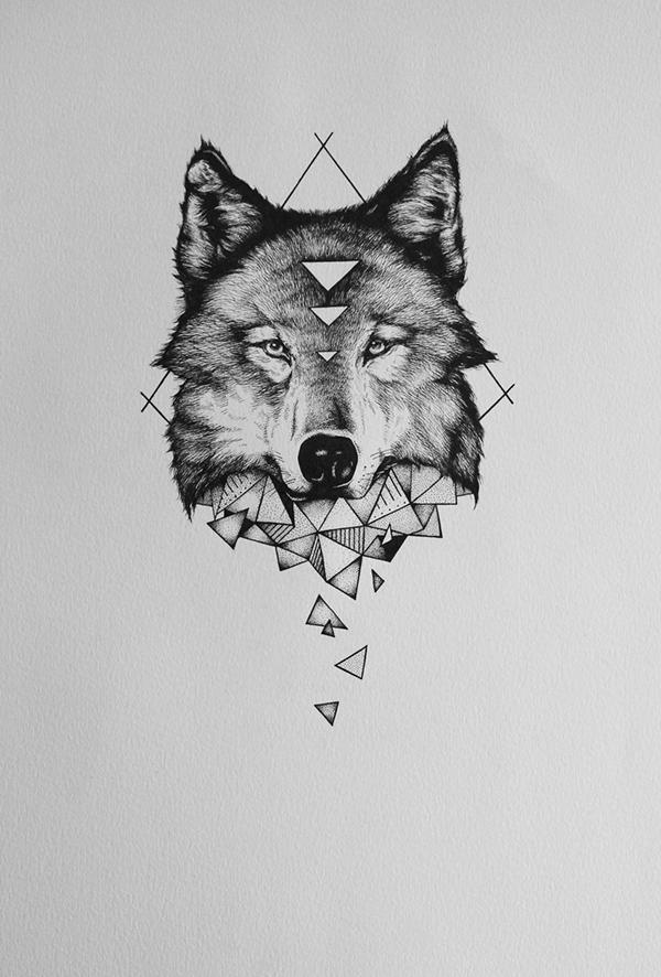 Geometric Wolf ... Tribal Deer Head Tattoo