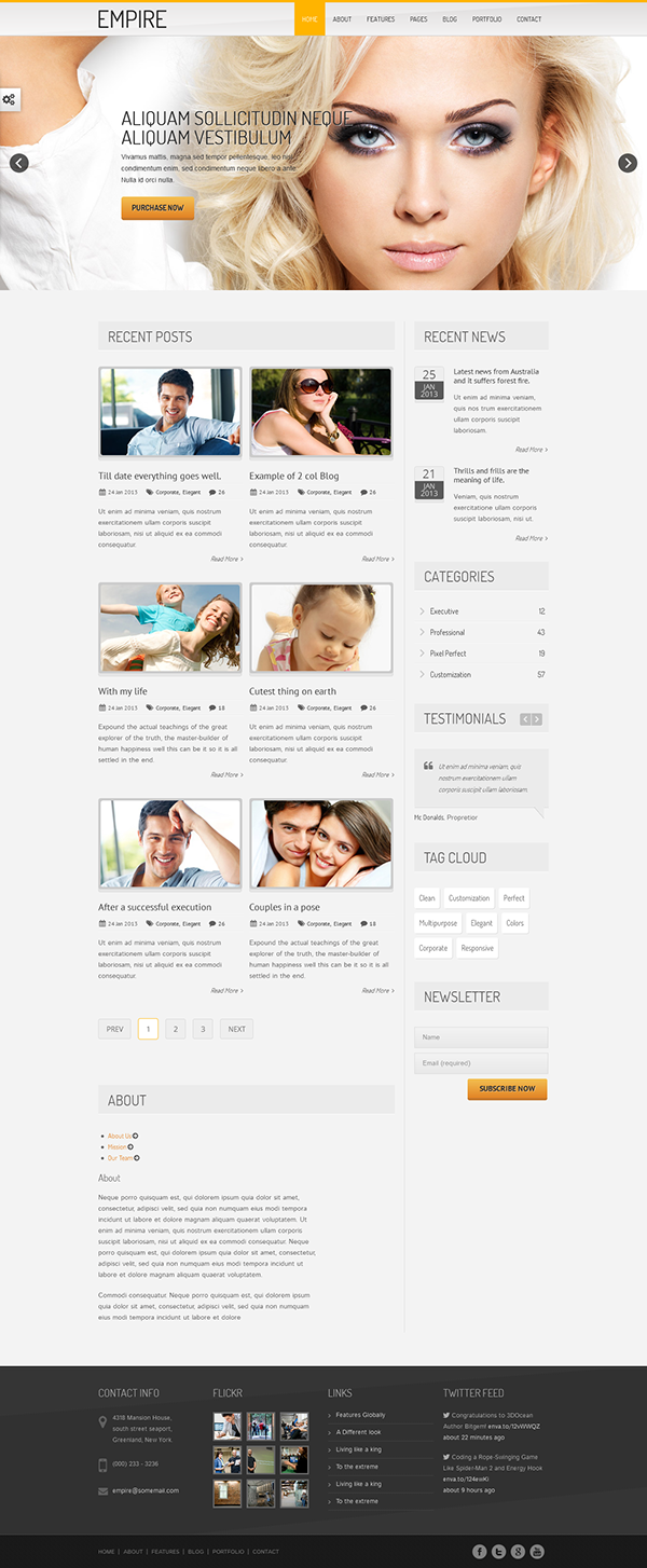 Empire business portfolio html 5 template on pantone for Page 3 salon coimbatore