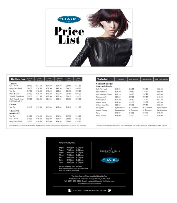 Spa Price List Design The Hair Spa Price List 2013