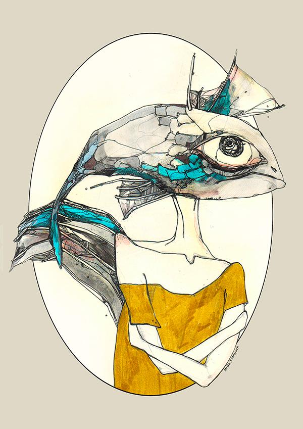 art moleskine mymoleskine  annakubanova anna_kubanova kub Russia deer fish creativ liner line graphics fairytale color