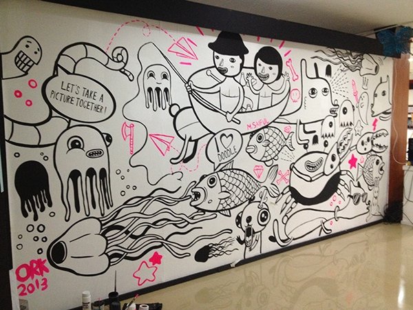Mural for doodle for unity on behance for Thank you mural