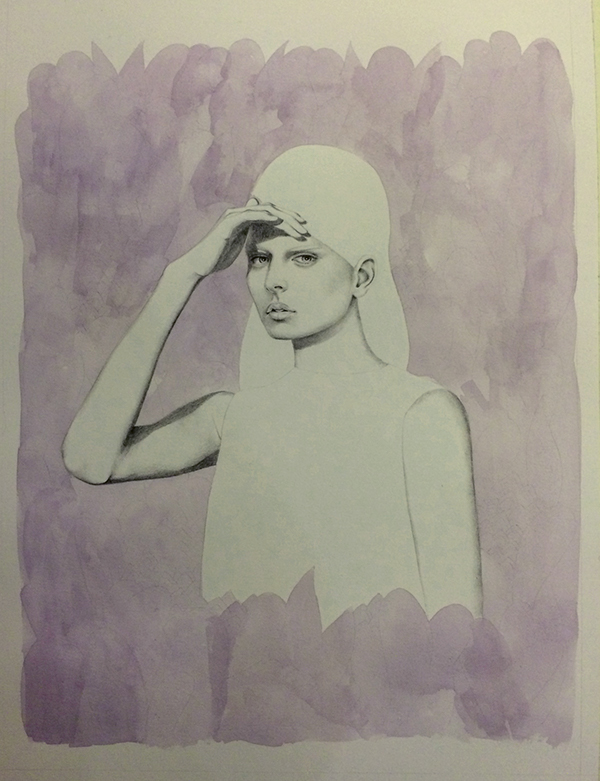 girl woman leaves purple portrait