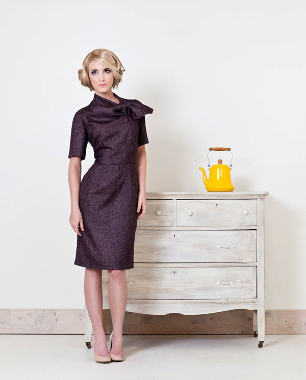made by anatomy designer boutique look book Style models female tailoring dress luke copping fabric material shoe antique furniture Buffalo NY WNY Custom birdcage clutch teapot