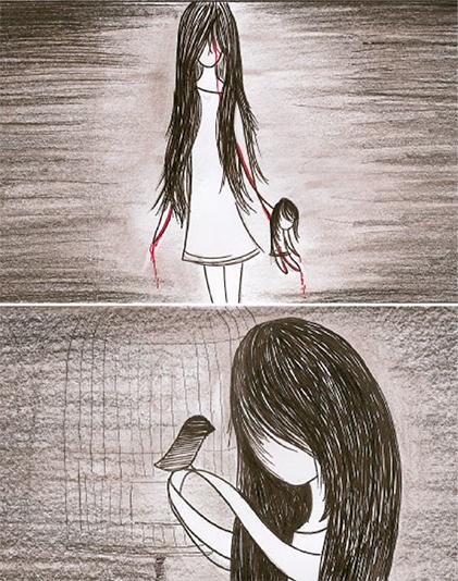 Kassandra short movie horror black and white Scary doll