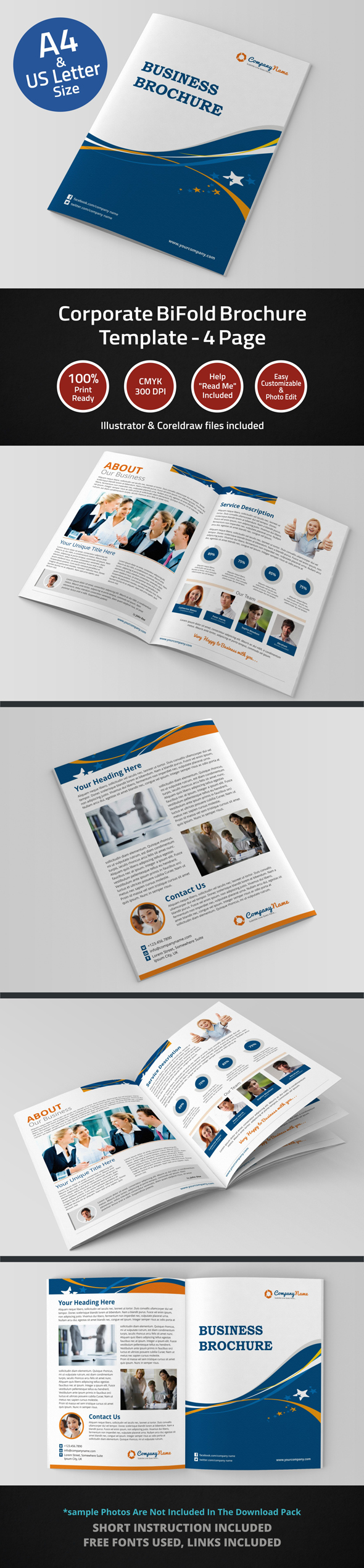 Page Corporate BiFold Brochure Template On Behance - 4 page brochure template