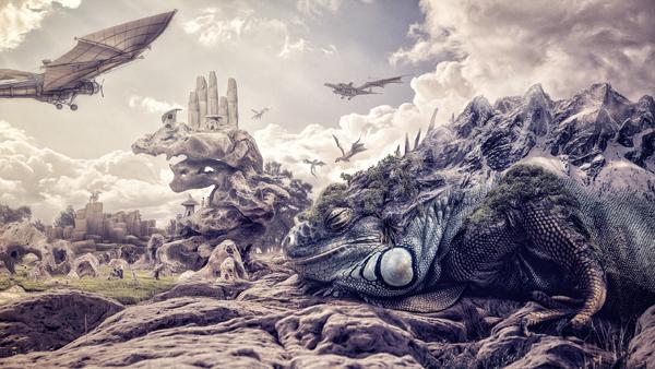 compositing postproduction digital painting fantasy dragon iguana