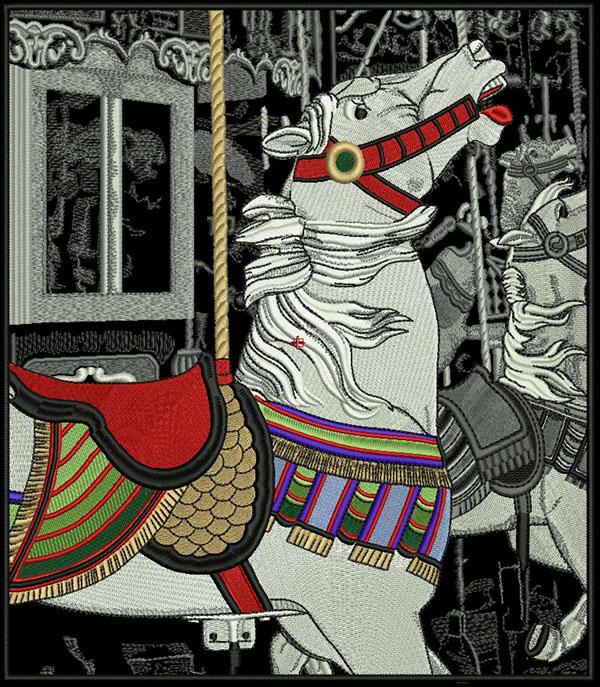 Machine Embroidery Embroidery EMBROIDERY DIGITIZING  needlework  Magazine   cover design horses carousel thread