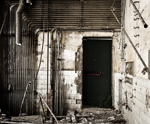 Urban factory occupy remains industrial Plant gym door phone buildings