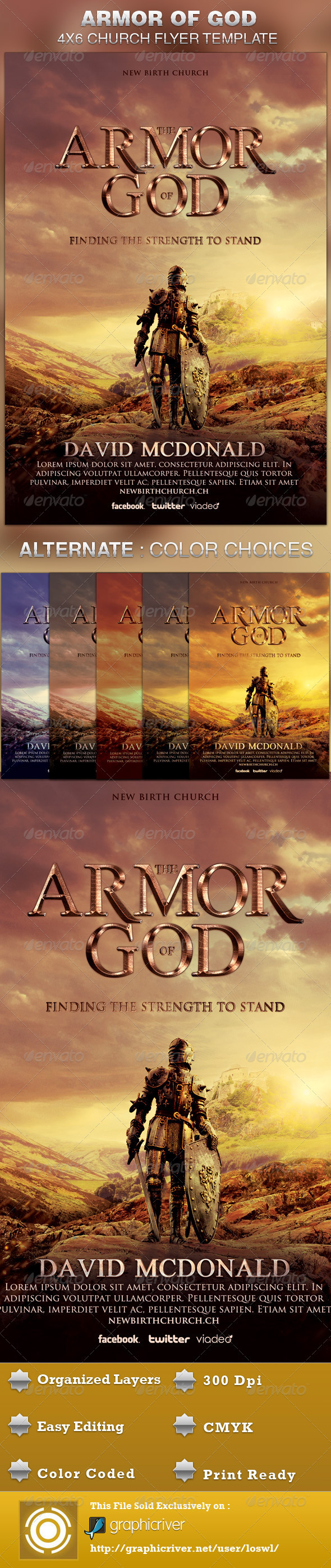 armor of god church flyer template on behance