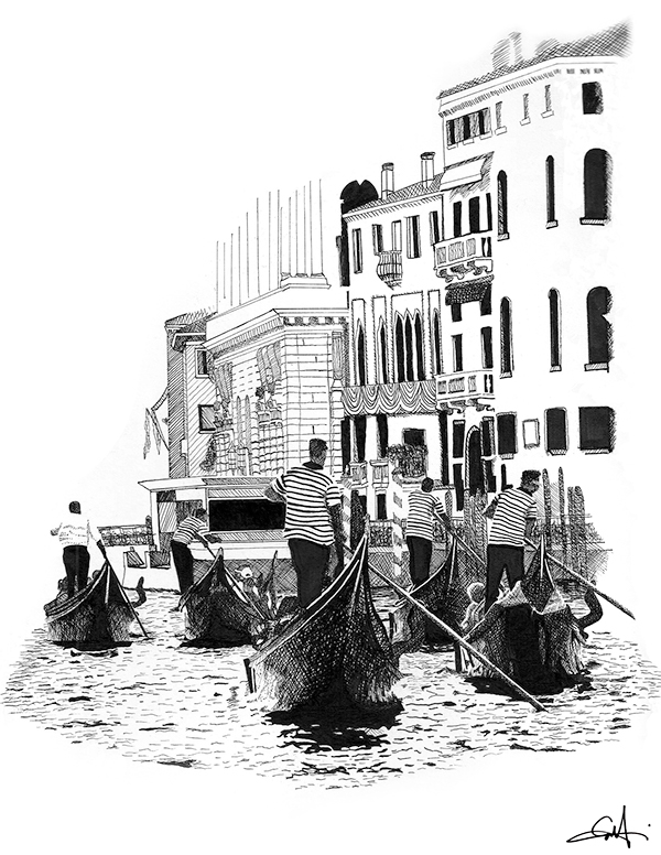 Line Drawing Venice : Ink line drawing venice italy on behance