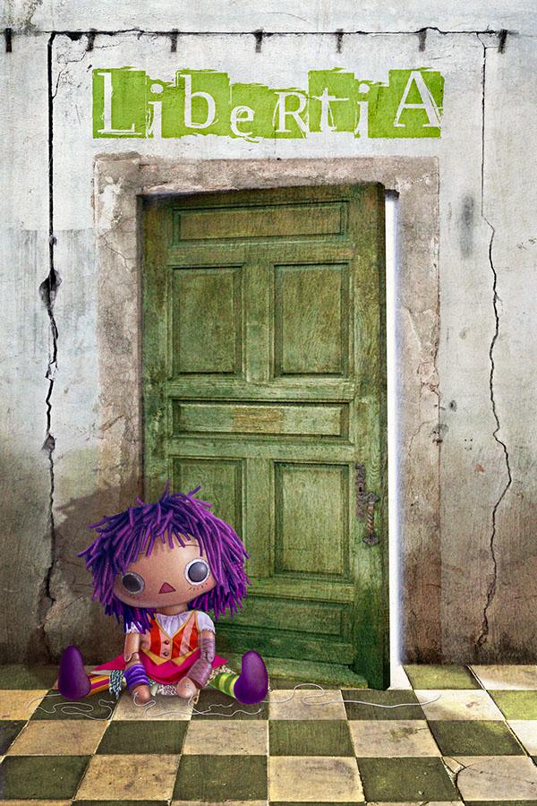 Character Theatre puppet marionette strings decadent room cute FLOOR purple hair dirty door green light