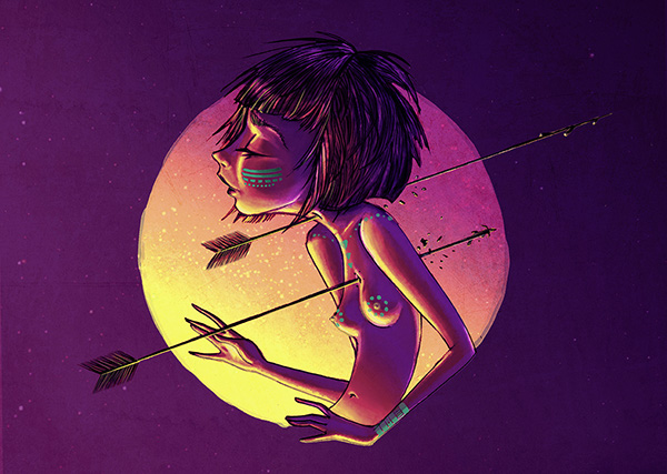 arrows woman contrast lights death throat