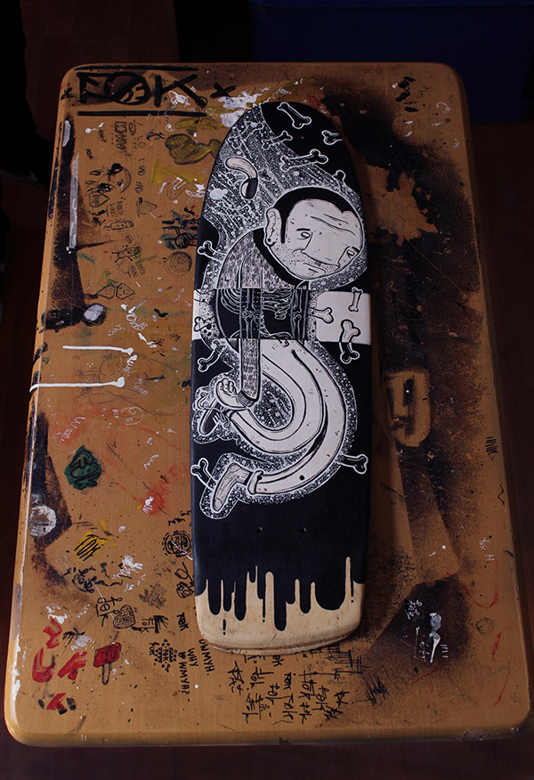 skateboard wood acrylic black and white cool