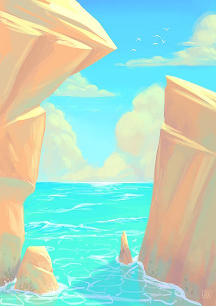Image may contain: screenshot, painting and water