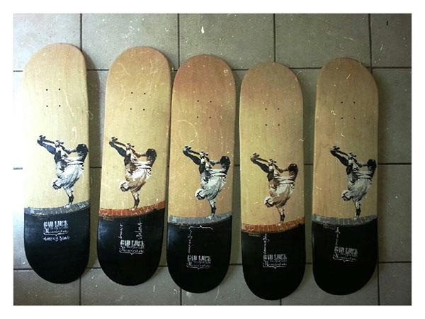 skateboard stencil hande made manufacture bad luck