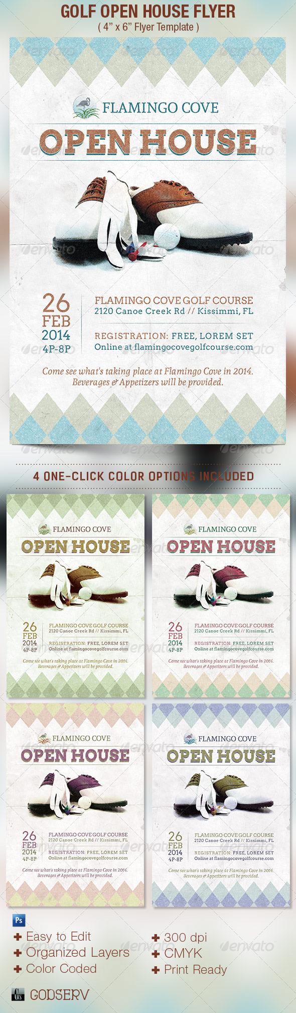 golf open house flyer template on behance. Black Bedroom Furniture Sets. Home Design Ideas