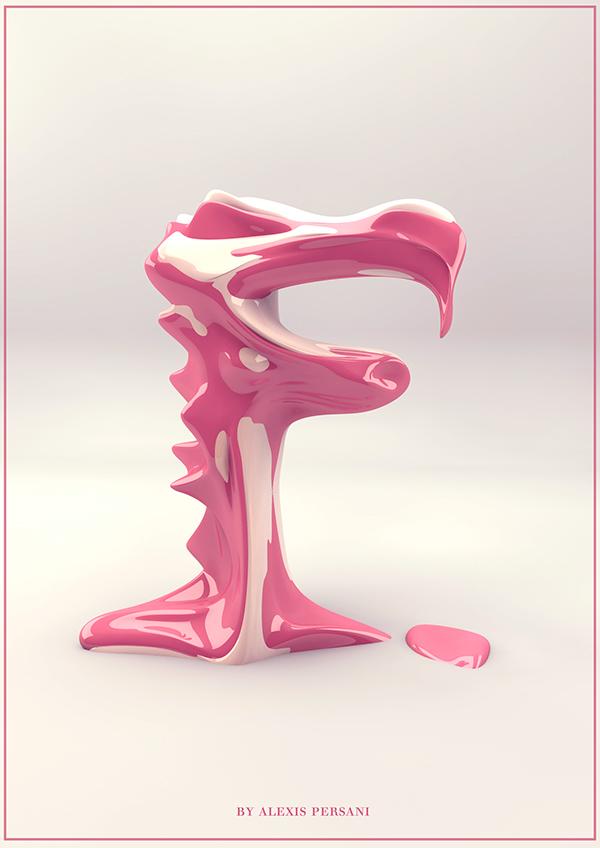 creativ alphabet neon modeling photoshop Cinema 3D 4d realflow letter lettre typo letters colour colours