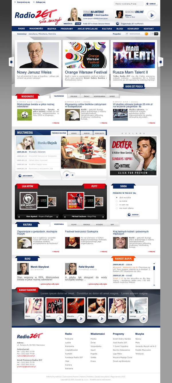 Webdesign,redesign,RadioZET,RadioZET.pl,www,Radio,Radio Station,polish,Web,Entertainment,media,Zet,portal
