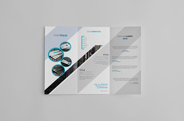 creative clean sleek template design brochure trifold nice photoshop White