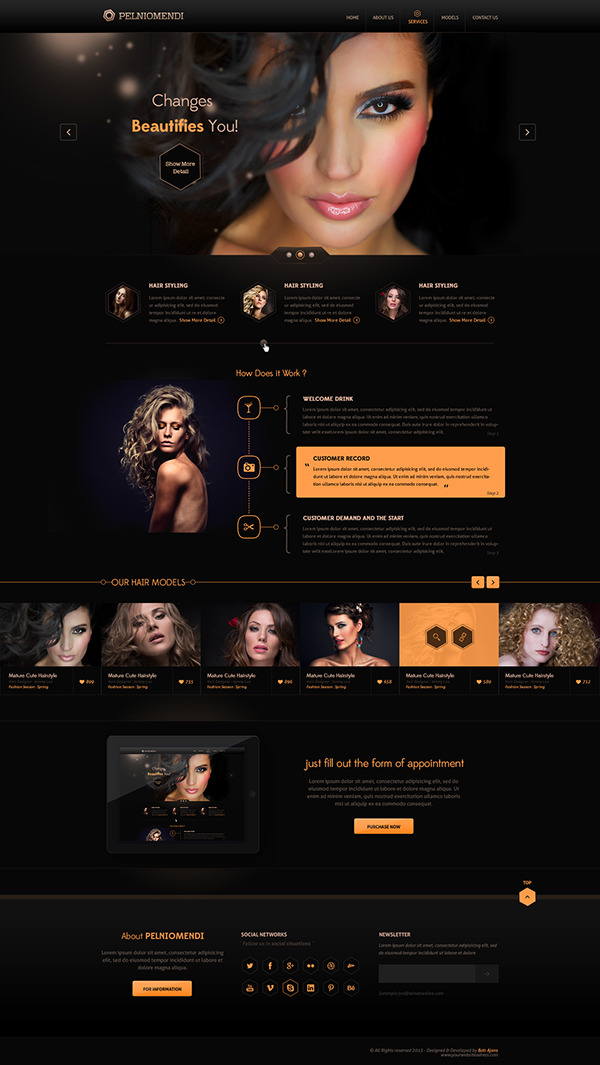 premium web template psd hair salons ui ux on behance