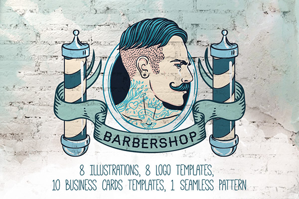 Vintage barbershop branding kit on behance for hair salon or barber shop stylish and unique you will find illustrations of masculine men labels logotype templates ribbons and business card colourmoves