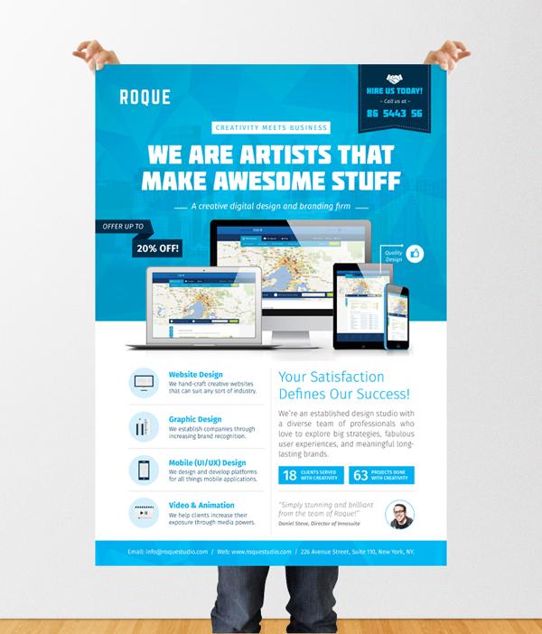 design services flyer poster template web app graphic on behance. Black Bedroom Furniture Sets. Home Design Ideas