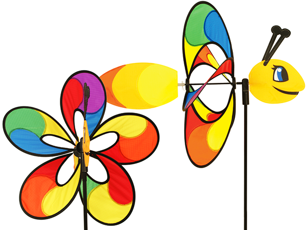 Windgame Insects Colours in Motion wheel colorful fabric print gardening garden decoration Whirly wing spinners Premier Kites