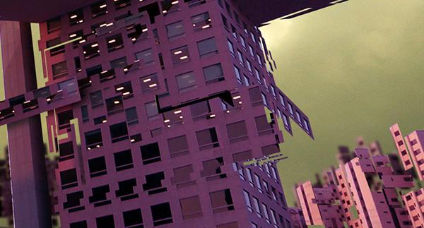 building deconstruct city blur lights band oniric visual design