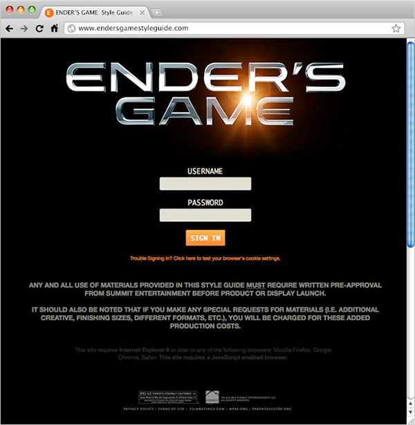 ENDER'S GAME Style Guide Assets Management Site on Student Show