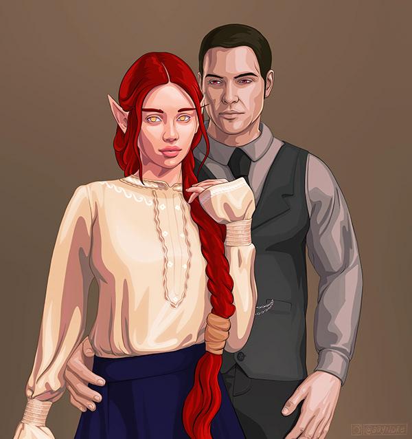 elf couple ~ fantasy illustration (ayndre, 2020)