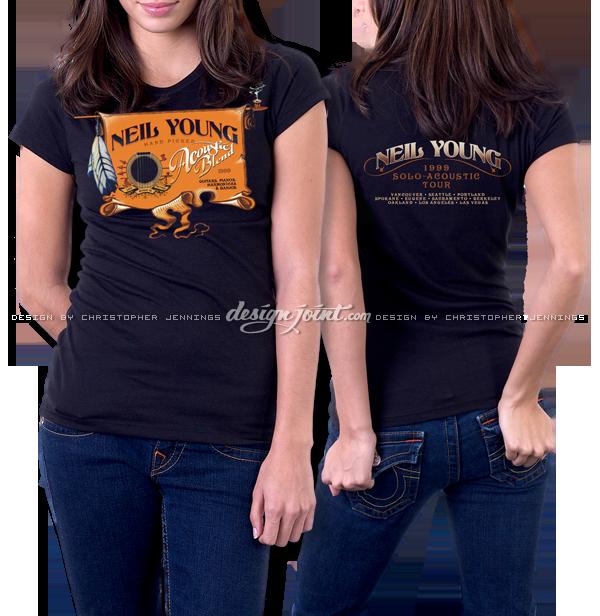 neil young  t-shirt concert merchandise tour Rock Art guitar lettering Custom vintage Retro