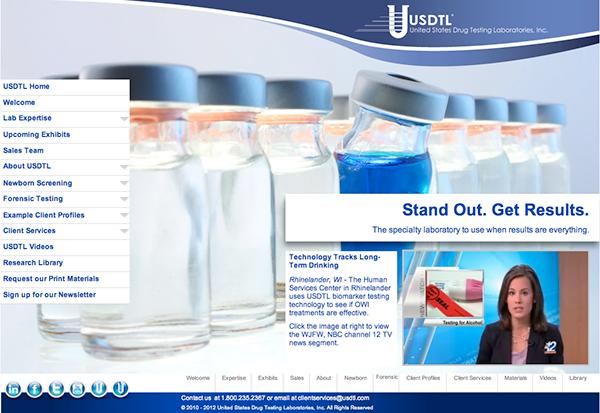 Website for United States Drug Testing Laboratories on Behance