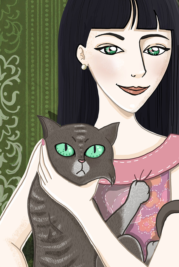 youngwoman girl Picture Cat portrait