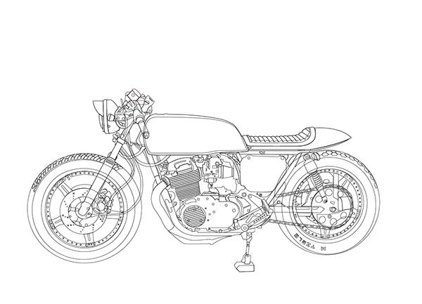 Honda Cb360 Vector Drawing On Behance