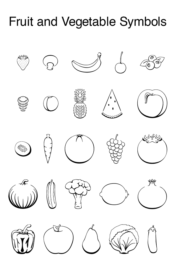 Line Drawing Vegetables : Fruit and vegetable line drawings