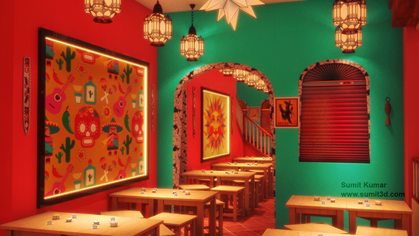 Mexican Restaurant 3D Interior Visualization on Behance