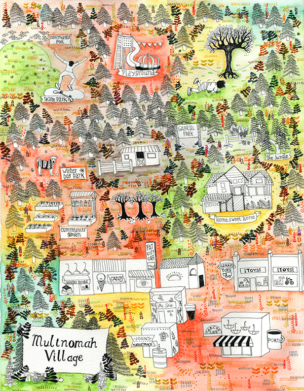 Illustrated Map of Multnomah Village, Portland, Oregon on Behance