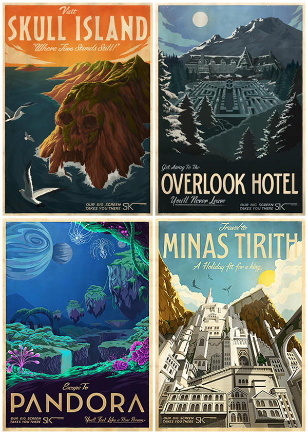 the shining Lord of the rings King Kong avatar Overlook Hotel steven king minas tirith pandora skull island Cinema posters Fan Art film posters Movie Posters