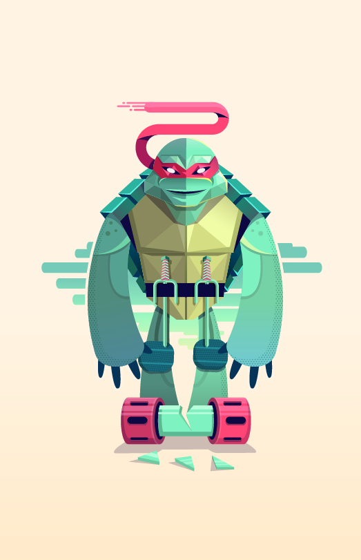 ninja Turtle teenage vector art color old school movie cartoon mutant raphael digital shapes
