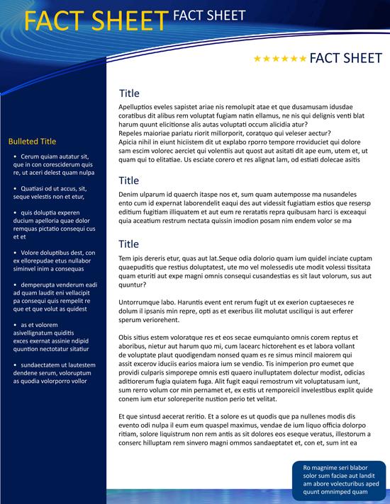 Media Fact Sheet Fact Sheet Template on Behance